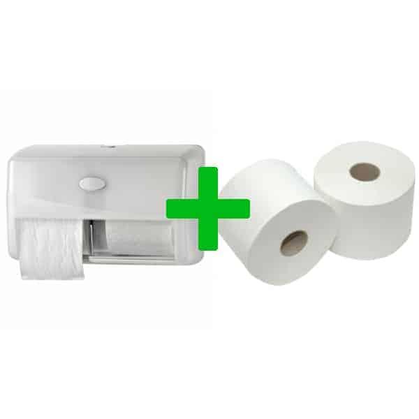 Duo Deal: Toiletroldispenser Compactrollen Pearl White