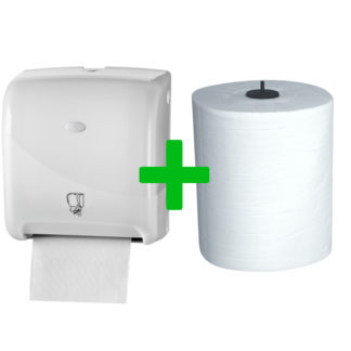 Duo Deal: Handdoekautomaat Tear & Go Pearl White
