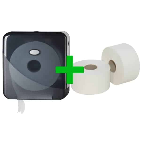 Duo Deal: Mini Jumbotoiletroldispenser Pearl Black