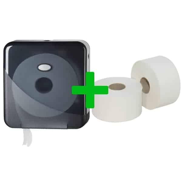 Duo Deal: Mini Jumbotoiletroldispenser Pearl Black