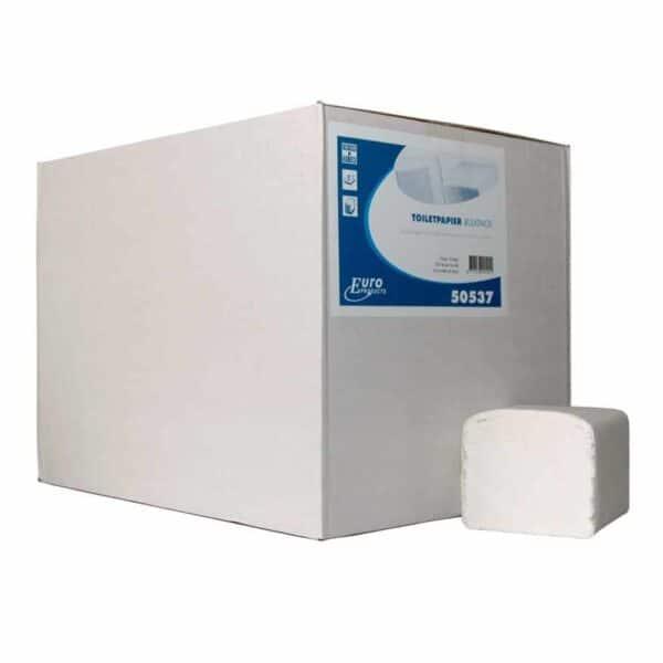 Euro Products P50537, Eco Toiletpapier Gevouwen, 250 vel, Tissue Wit, 2-lgs, 36 bundels