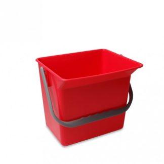 Emmer 6 liter rood met hengsel en schenkgedeelte