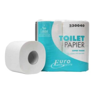 Euro Products 230040, Eco Toiletpapier, 400 vel, Traditioneel Tissue Cellulose, 2-lgs, 40 rollen