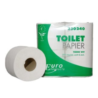 Euro Products 230240, Eco Toiletpapier Traditioneel, 400 vel, Tissue Wit, 2-lgs, 40 rollen