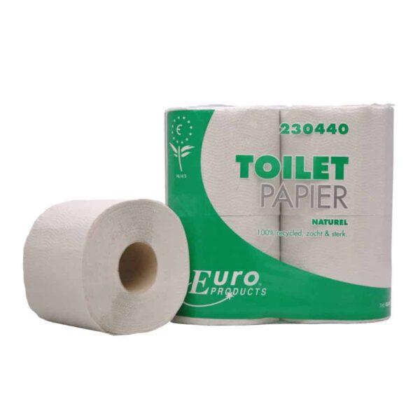 Euro Products 230440, Eco Toiletpapier Traditioneel, 400 vel, Naturel, 1-lgs, 40 rollen