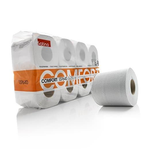 Satino 137640, Eco Toiletpapier, 250 vel, Traditioneel Recycled Tissue, 2-lgs, 72 rollen