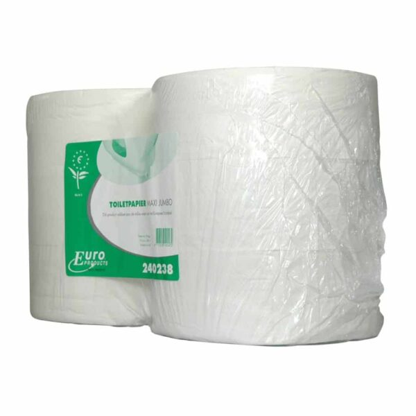 Euro Products 240238, Eco Toiletpapier Maxi Jumbo, 380mtr, Tissue Wit, 2-lgs, 6 rollen