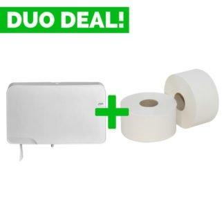 Duo Deal: Quartzline Mini Jumbo Toiletrolhouder + Toiletpapier