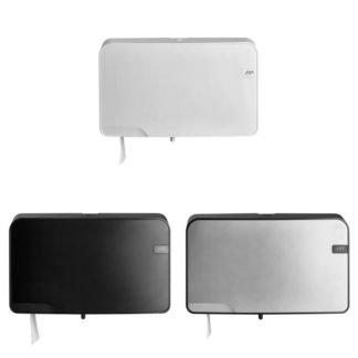 Quartzline Toiletrolhouders voor mini jumbo toiletrollen verkrijgbaar in White, Black en Silver.