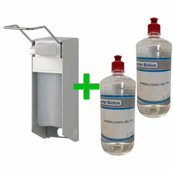 2 liter handgel met Elleboogdispenser